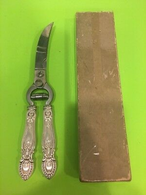 Vintage Sterling Silver Handle Kitchen Scissors Shears serrated Blade Italy.