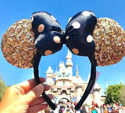 Disney Parks Disneyland Paris Gold Black Polka Dot Minnie Sequin Ears Headband