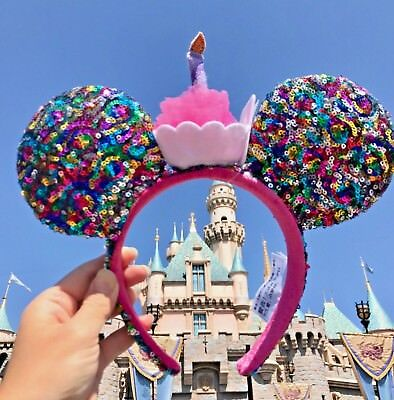 Disney Parks Confetti Rainbow Minnie Mouse Sequin Birthday Candle Ears Headband