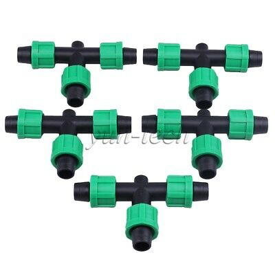 5pcs 16mm Free Flow Tape Coupling Drip Irrigation Fittings 3 Ways T Couplers