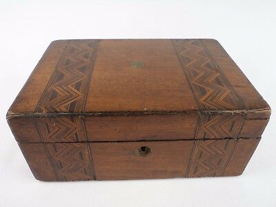 Antique Marquetry Cariage Chest Box  Wood England 1890 London  Original Rare
