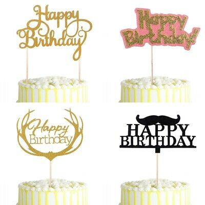 Happy Birthday Antlers Cake Topper Baby Shower Kids Adult Glitter Cupcake Party