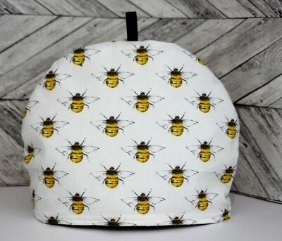 Tea Cosy Bees White and Yellow Quilted Handmade Tea Pot Cover Tea Cozy