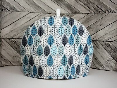 Tea Cosy Blue Grey and white Quilted Handmade Tea Pot Cover Tea Cozy