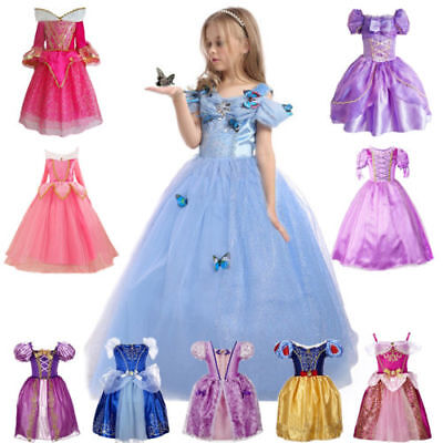 Kids Girls Princess Fancy Dress Rapunzel Belle Cinderella Sofia Cosplay Outfits
