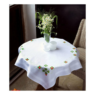 Embroidery Kit Tablecloth Four Leaf Clover Stitched on Cotton Fabric  80 x 80cm