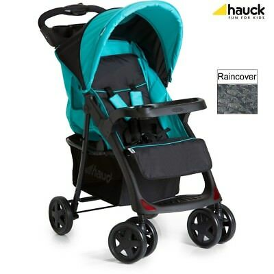 Hauck Shopper Neo II Pushchair (Caviar/Aqua) Stroller with rear and front trays
