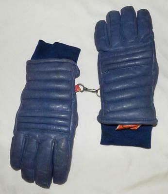 VINTAGE 80s KOMBI BLUE LEATHER SKI snowboard GLOVE down fill M Lady, S men WARM