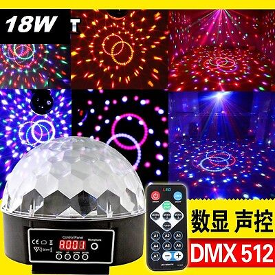 DMX512 Party Disc DJ Ball Stage Light LED RGB Crystal XMAS Effect MAGIC Lamp 18W