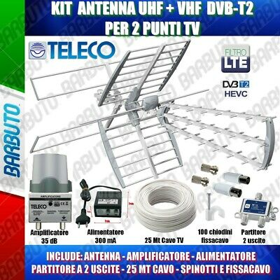 KIT COMPLETO TV DIGITALE TERRESTRE ANTENNA COMBO 35db,PARTITORE PER 2 TV INCLUSO