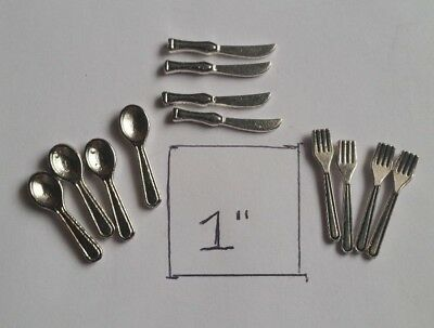 Miniature Dollhouse Metal Silverware Lot 4 Sets FREE SHIPPING!