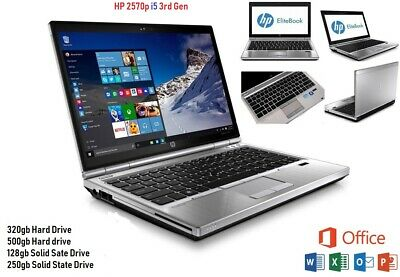 HP EliteBook 2570p Windows 10 or 7 Core i5  8GB Microsoft Office 16 Laptop