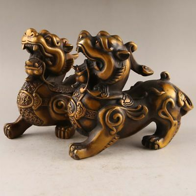 China antique pure copper hand made kylin statue Decoration A pair