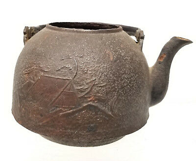 Antique Vintage Japanese Cast Iron Teapot Landscape Mt Fuji