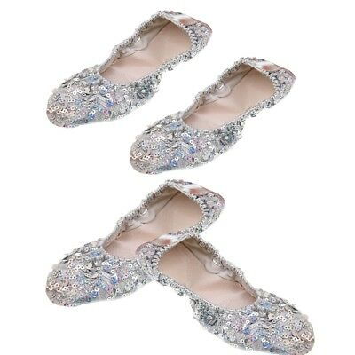 2Pairs Belly Dance Shoes Soft Soles Practice Performance Shoes Sequins Shoes