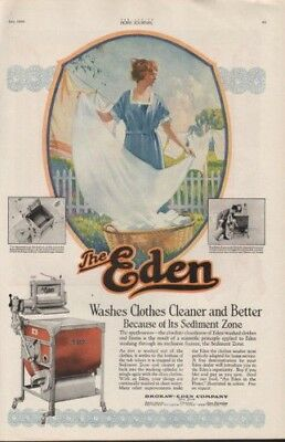 1920 Eden Washing Machine Laundry Clothes Line Wife Ad 9580