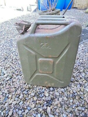 Metal Fuel Jerry Can Diesel Petrol Oil 20 Litre Green Military  Collection Only
