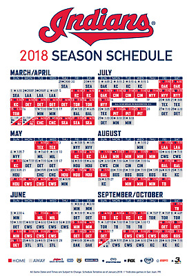 Huge! Cleveland Indians Schedule Magnet 2018 Mlb Baseball Ohio Team Season Playe