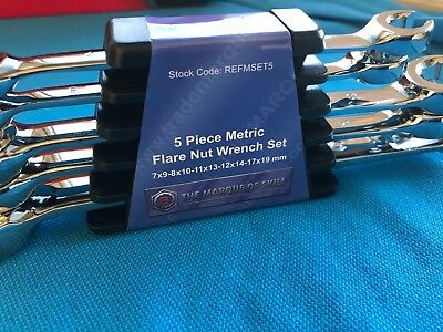 BRITOOL HALLMARK MAY SALE 5 PCE METRIC FLARE NUT PANNER WRENCH SET 7mm - 19mm