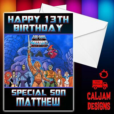 He Man Heman He Man Birthday Card Personalised Any Wording Or Age