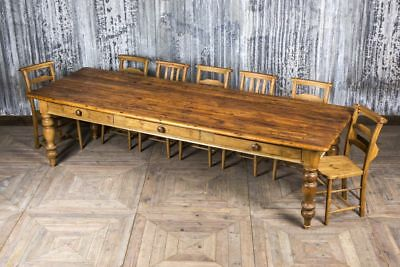 Large Victorian Pine Table Antique Turned Leg Farmhouse Table With Drawers