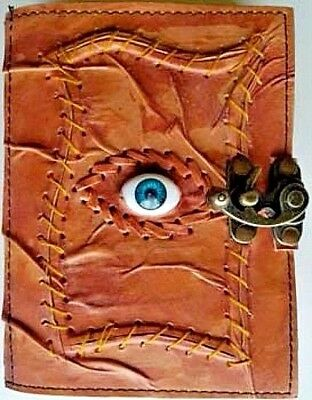 All Knowing Eye Leather Book Of Shadows w/ Latch Blank Journal Wicca Pagan Diary