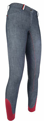 HKM PRO TEAM Riding Breeches - County - Denim Silicone Knee Patch