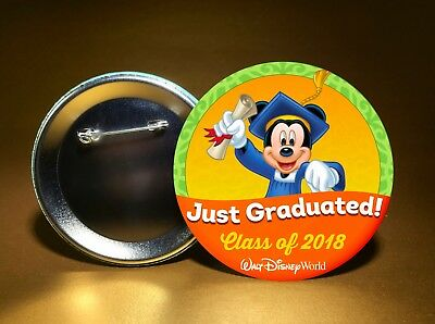 "GRADUATION-CLASS OF 2018-w/ Disney Mickey-WDW/DL-3"" PINBACK BUTTON-FREE SHIP"