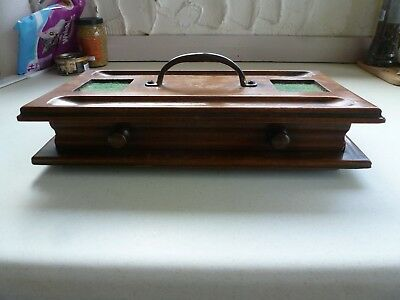 Vintage ink well stand draw drawer wooden storage tray brass handle