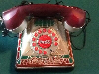 Vintage Phone Collectable Coca-Cola Stained Glass Tiffany Style LIGHTED! WORKS!