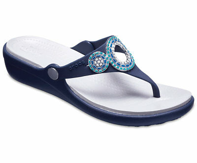 a5b7527a7ea Crocs Women s Sanrah Embellished Diamante Wedge Flips Navy Sizes 5 6 7 8 9  10 11
