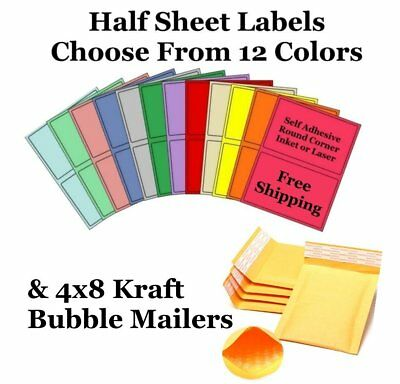 4x8 Kraft  Bubble Mailers + 8.5x5.5 Half Sheet Self Adhesive Shipping Labels