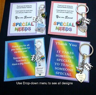 Thank you Gift Special Needs Assistant Key ring Autism Jigsaw charm on Gift card