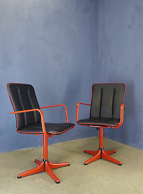 1 of 4 VINTAGE RETRO 1970 ITALIAN HAIRDRESSER METAL SWIVEL CHAIR DINING CHAIRS
