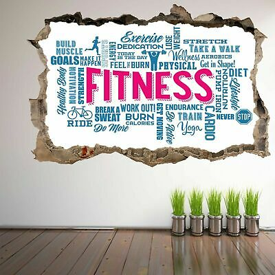 Word Cloud Fitness Exercise Wall Art Stickers Mural Decal Vinyl Poster FD1