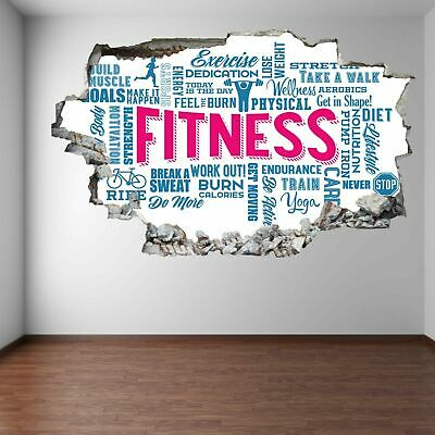 Word Cloud Fitness Exercise Wall Art Stickers Mural Decal Vinyl Poster FD2