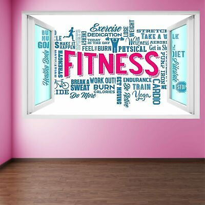 Word Cloud Fitness Exercise Wall Art Stickers Mural Decal Vinyl Poster FD3