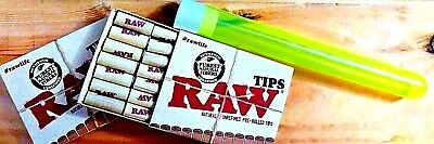 RAW TIPS—Natural Unrefined Pre-Rolled Tips (2-PK of 21 Tips/42 Tips+Doob Tube)