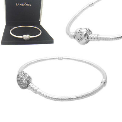 New Authentic Pandora Sterling Silver Pave Heart Bracelet 590727CZ With GIFT BOX