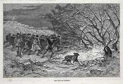Wolf Hunt in Poland, Villagers with Scythes, 1870s Antique Engraving Print