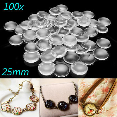 100Pcs 25MM Transparent Clear Round Flatback Domed Glass Cabochon Cover Finding