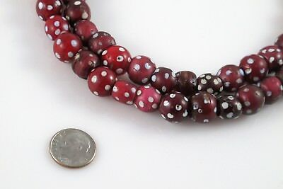 Antique Skunk Venetian-made African Trade Bead Strand Red With White Dots