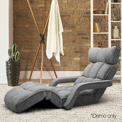 Grey Lounger with armrest Adjustable lounge Chair Couch sofa bed living room