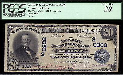 $20 1902 Page Valley National Bank of Luray, Virginia CH 6206 ONLY 7 LRG, 9 SML