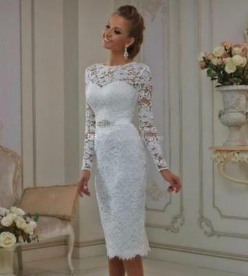 7197fcccec86b New Fashion white ivory short Lace Wedding Dress Bride Gown Size 6 8 10 12  14