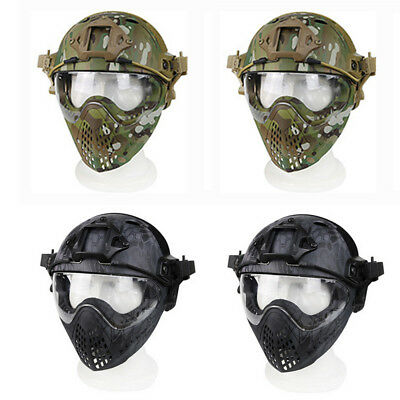 PJ Tactical Fast Helmet Full Face Mask Goggles Game Airsoft Paintball Guard AC