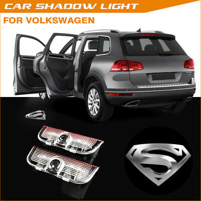 Silver Superman Car Door LED Logo Welcome Projector Shadow Lights For VW Passat