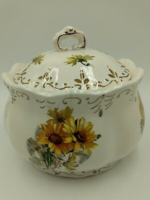 Vintage Porcelain Cracker / Biscuit Jar Yellow Floral Pattern Gold Accents GDA?