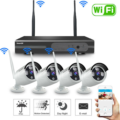 Anni 4CH Wireless 1080P NVR Outdoor Home WIFI Camera CCTV Security System Video