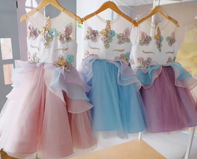 AU Chiffon 3D Unicorn Kid Girl Bridesmaid Formal Sleeveless Dress Pageant Skirt